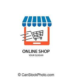 magasin, icône, ligne