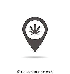 magasin, icône, marijuana, emplacement, monde médical