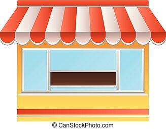 magasin, icône, style, rue, dessin animé, public