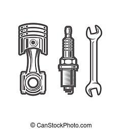 magasin, icônes, voiture, signe, piston, clé, service, bouchon, entretien, étincelle, logo, station