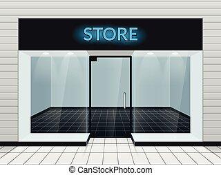 magasin, illustration, vecteur, devant, ou, magasin, vue