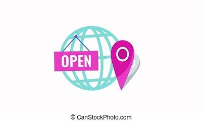 magasin, infographics, endroit, icon., animé, global