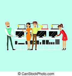 magasin, informatique, aide, coloré, gens, aide, appareil, illustration, équipement, vecteur, choisir, magasin