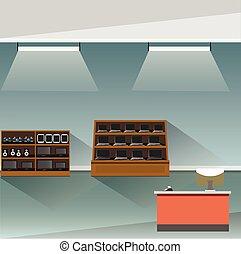 magasin, intérieur, électronique, bannière, magasin