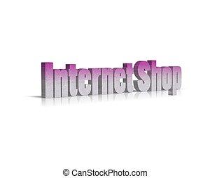 magasin, internet, mot, 3d