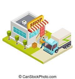 magasin, isométrique, illustration, livraison, vecteur, petit, pain
