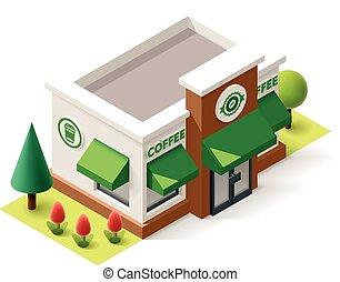 magasin, isométrique, vecteur, café