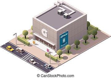 magasin, isométrique, vecteur, gadget