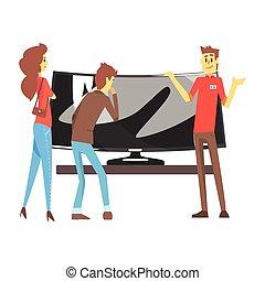 magasin, large, achats, tv, aide, couple, conjugal, équipement, objets, choisir, département, maison, électronique, aide, magasin