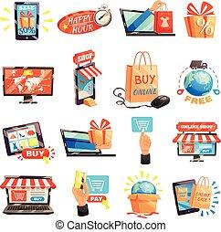 magasin ligne, collection, icônes