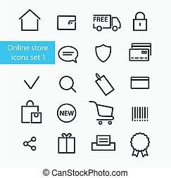 magasin, ligne, icônes