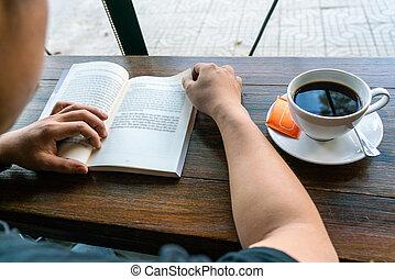 magasin, lire, café, livre, homme