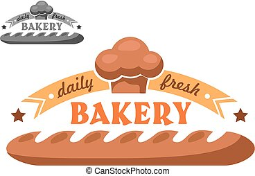 magasin, logo, boulangerie, emblème, ou