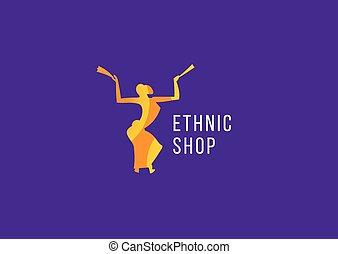 magasin, logo, créatif, ethnique