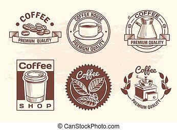 magasin, logos, café, vendange, étiquettes, chaud, isolé, main, grande tasse, vecteur, dessiné, beans., boissons