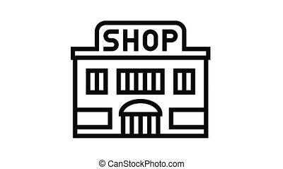 magasin, magasin, icône, animation, ligne, bâtiment