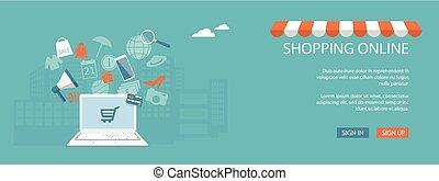 magasin, magasin ligne, site web, conception