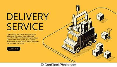 magasin, maison, illustration, livraison, vecteur, en mouvement, ou