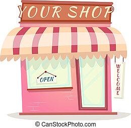 magasin, maison, isolé, illustration, dessin animé, vecteur, retro, ton, icône