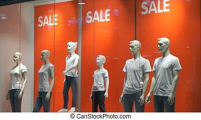magasin, mannequins, vente, fenêtre, mots, indoors.