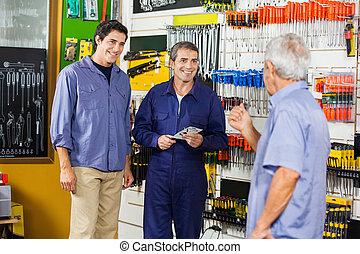 magasin, matériel, clients, ouvrier