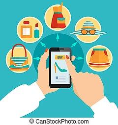 magasin, mobile, app, ligne, habillement, composition