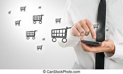 magasin, mobile, homme, utilisation, ligne