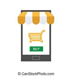 magasin, mobile, ligne