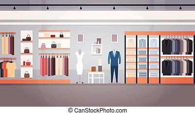 magasin, mode, espace, intérieur, copie, bannière, magasin, vêtements