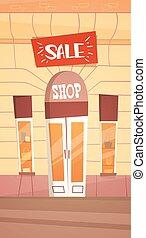 magasin, mode, grand, retial, moderne, vente, extérieur, bannière, magasin