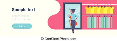 magasin, mode, moderne, élégant, entiers, femme, miroir,...