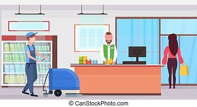 magasin, nettoyeur, concept, moderne, service, uniforme, machine, intérieur, magasin, plat, entiers, supermarché, nettoyage, bureau, utilisation, horizontal, homme, épicerie, lavage, compteur, longueur, professionnel, concierge