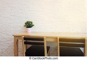 magasin, noir, vide, bois, chaises, tables, conception, café, vendange, shop.