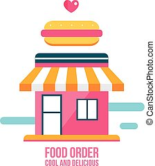 magasin, nourriture, chien, jeûne, chaud, façade, icône