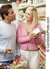 magasin, nourriture, couple, santé, achats