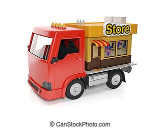 magasin, nourriture, door., livraison, illustration:, camion...