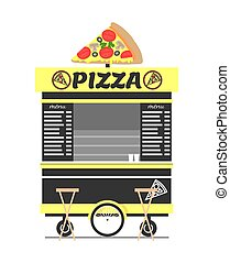 magasin, nourriture rue, illustration, vecteur, charrette, pizza