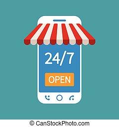 magasin, nuit, concept, moderne, téléphone, ligne, jour, ...