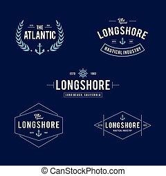 magasin, océanique, elements., vendange, étiquettes, équipement, conception, nautique, logo