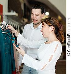 magasin, ordinaire, habillement, couple