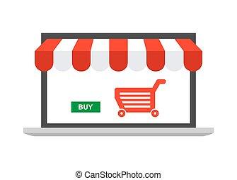 magasin, ordinateur portable, ligne