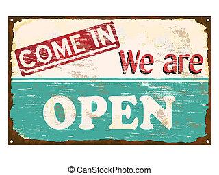 magasin, ouvert, émail, signe