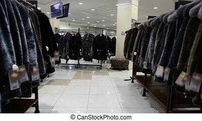 magasin, panorama, manteau fourrure