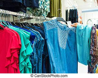 magasin, personne, unrecognizable, vêtements