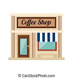 magasin, peu, café, magasin