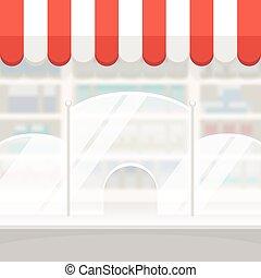 magasin, pharmacie, fond, façade, ou, magasin