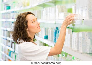 magasin, pharmacien, haut, propre, séduisant