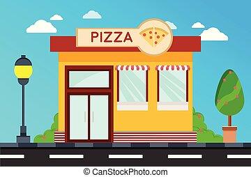 magasin, pizza, façade, magasin, moderne, extérieur, bâtiments, bâtiment., illustration