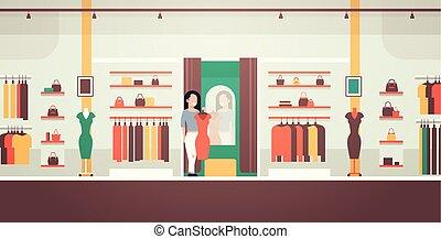 magasin, plat, achats femme, business, moderne, regarder,...