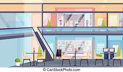 magasin, plat, café, achats, non, boutique, moderne, gens, supermarché, centre commercial, magasin, intérieur, horizontal, vente au détail, vide, vêtements